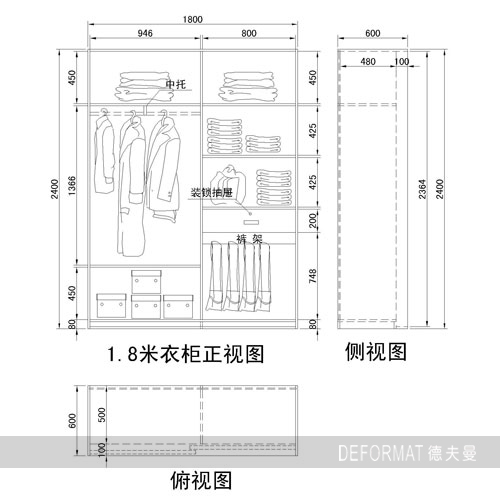 衣柜尺寸主要是指衣柜内部格局尺寸,挂衣区,挂衣区又分为挂大衣