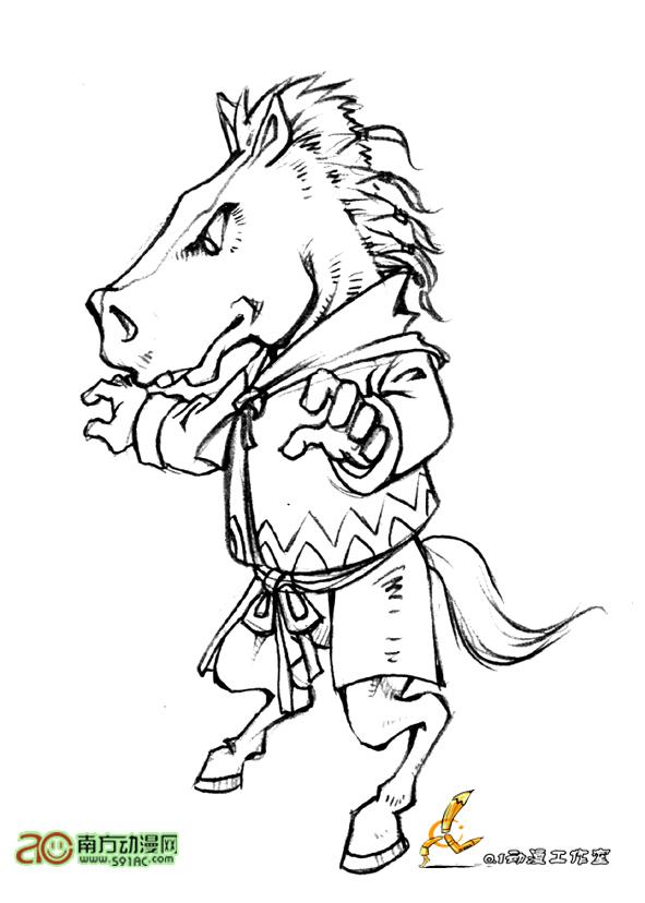 马头的简笔画步骤图片