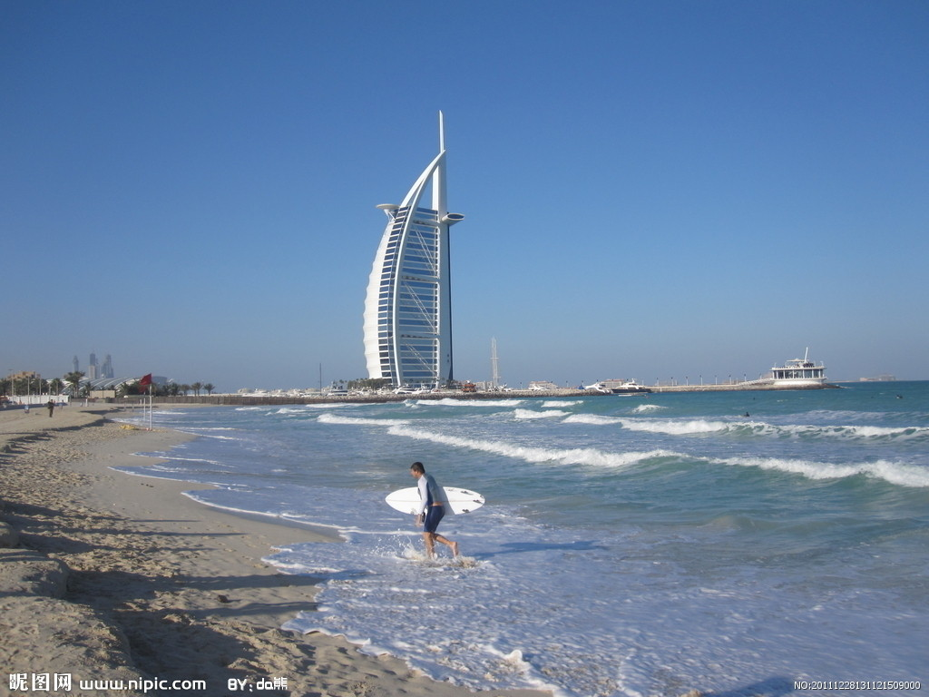 迪拜帆船酒店摄影图__自然