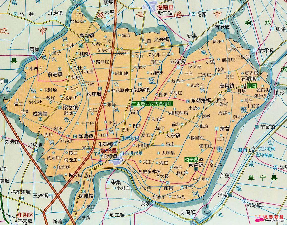 江苏淮安; 江苏淮安涟水县地图; 江苏淮安地图图片大全下载