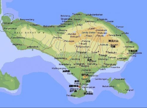 印尼地图高清中文版巴厘岛