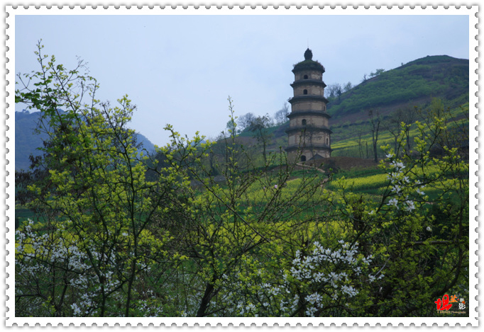该塔为七层八棱楼阁式空心砖塔