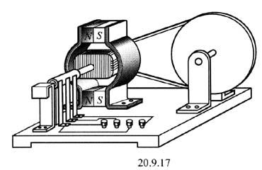 发电机的工作原理就是把电枢线圈中感应产生的交变电动势,靠换向器