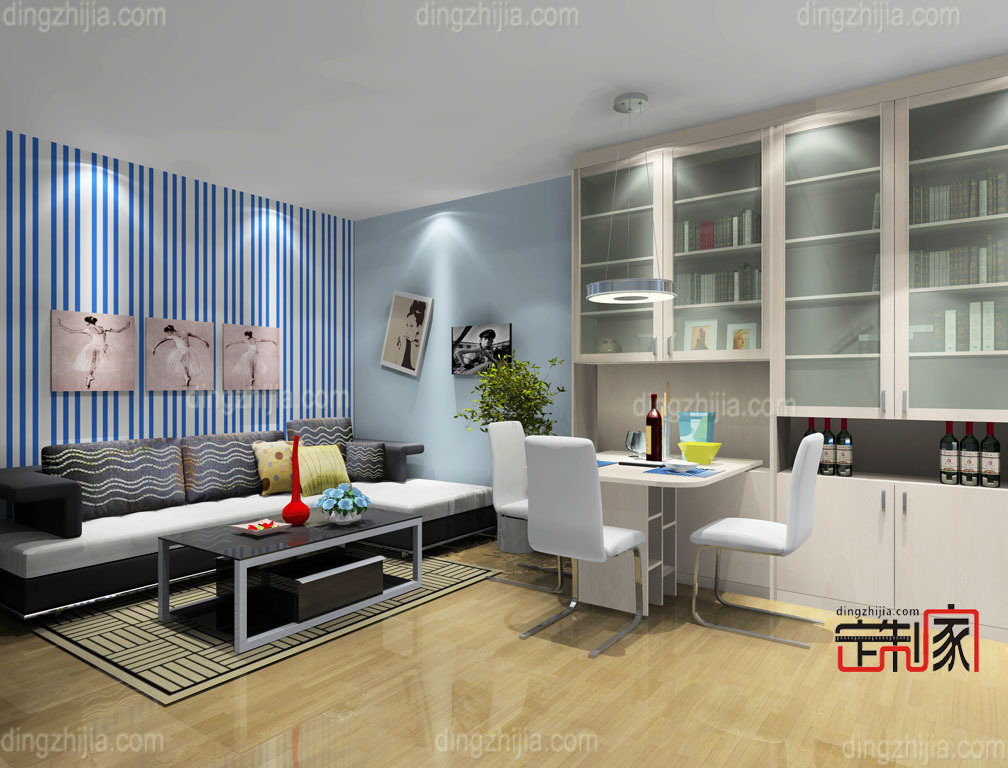 喏亚现代时尚客厅 酒柜 茶几 小型酒吧台椅 客厅设计效果图