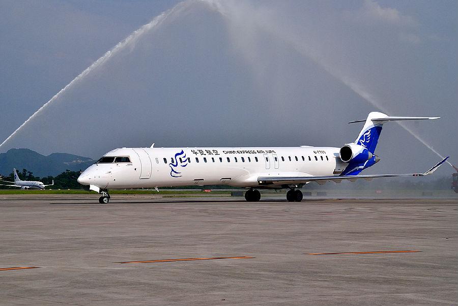 截止2012年9月华夏航空机队执飞机型为50座位级庞巴迪crj200型客机5