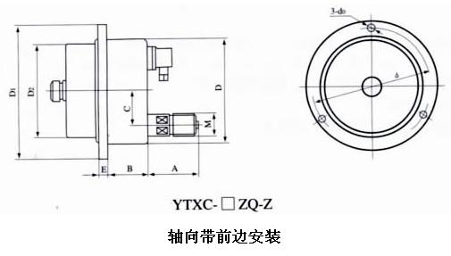 安装 编辑本段六,耐震电接点压力表外形尺寸 编辑本段七,接线示意图