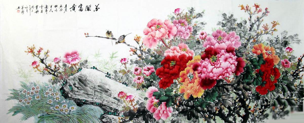 六尺国画牡丹·花开富贵