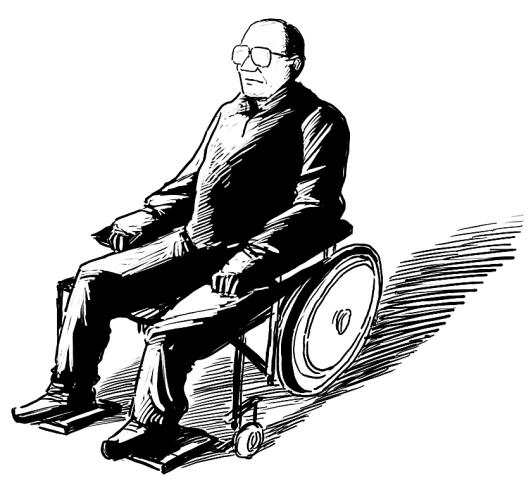 小孩儿推轮椅黑白矢量图