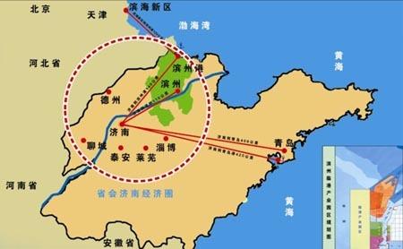 以京津冀为核心,以辽东半岛和山东半岛为两翼的环渤海经济区域主要